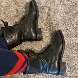 Chanel quilted and tweed combat moto boots